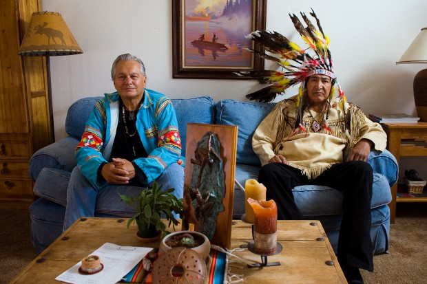 Seminole Medicine Man James Mooney and Ogala Medicine Chief Richard 'He Who Holds the Foundation' Swallow